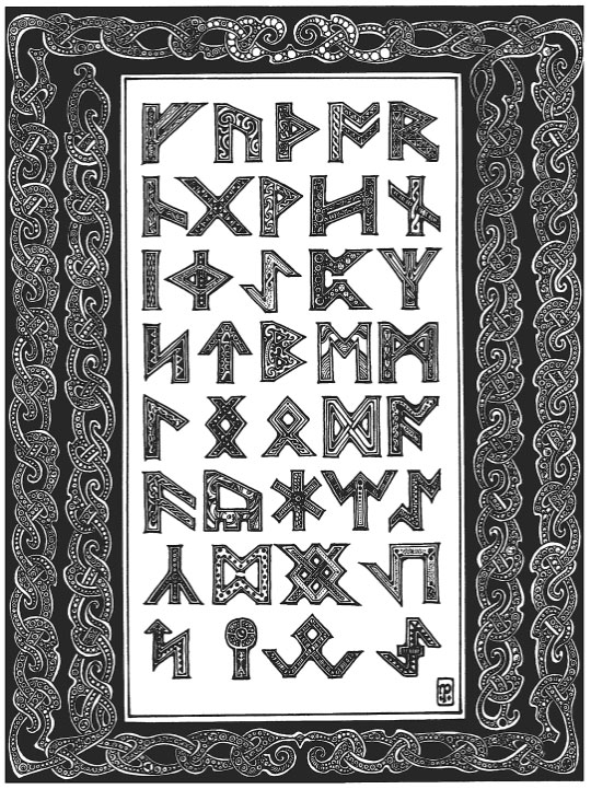 Illuminated runes by Nigel Pennick