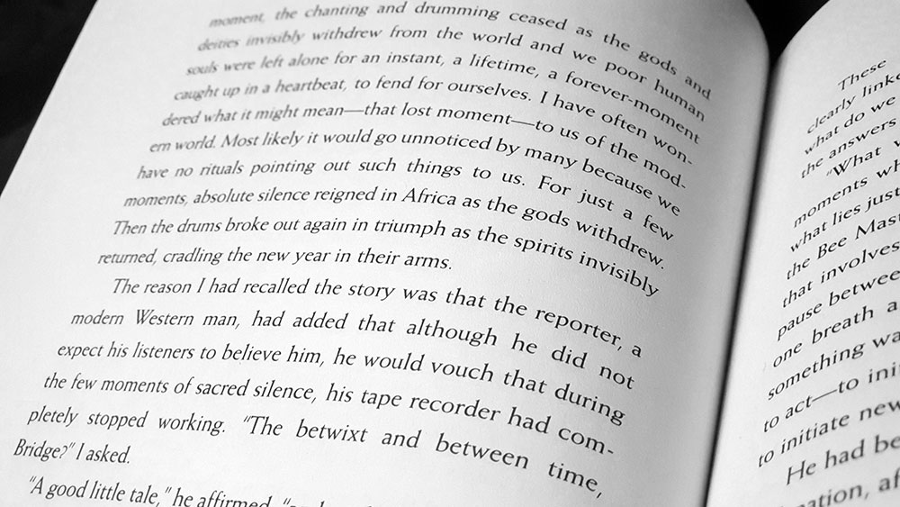 Spread with text plagiarised from P.L Travers' What the Bee Knows