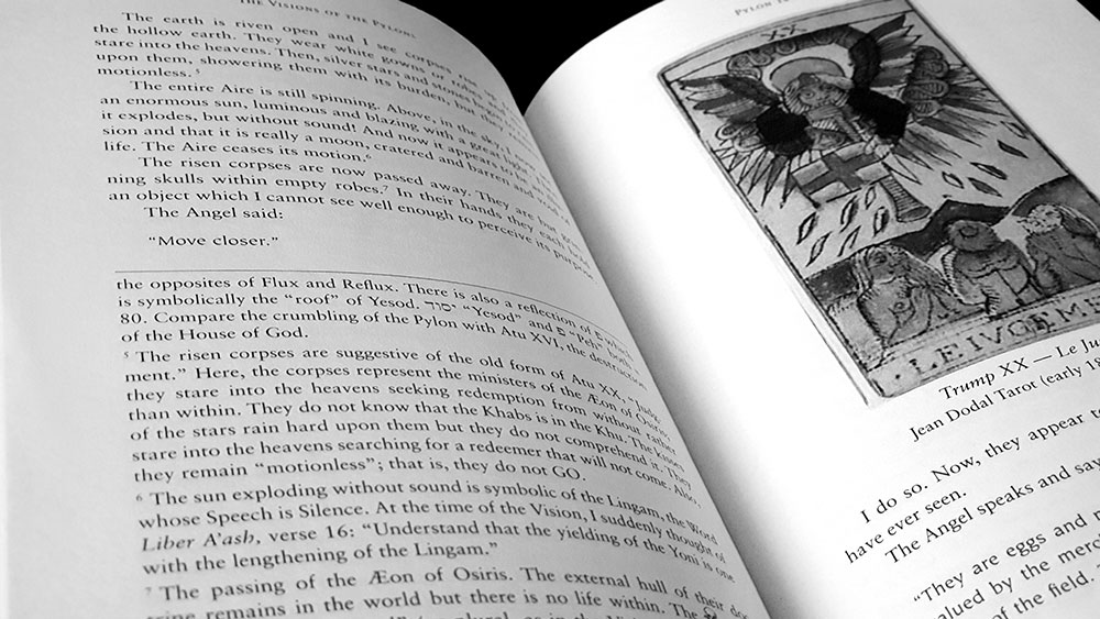 Visions of the Pylons page with footnotes and tarot image