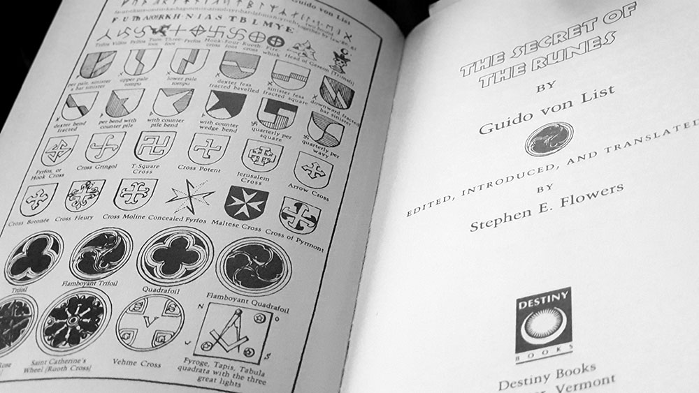 Runic symbols and title page spread