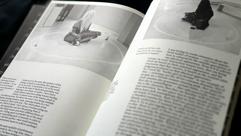 Sabat #3 spread with interview with performance artist Miki Aurora