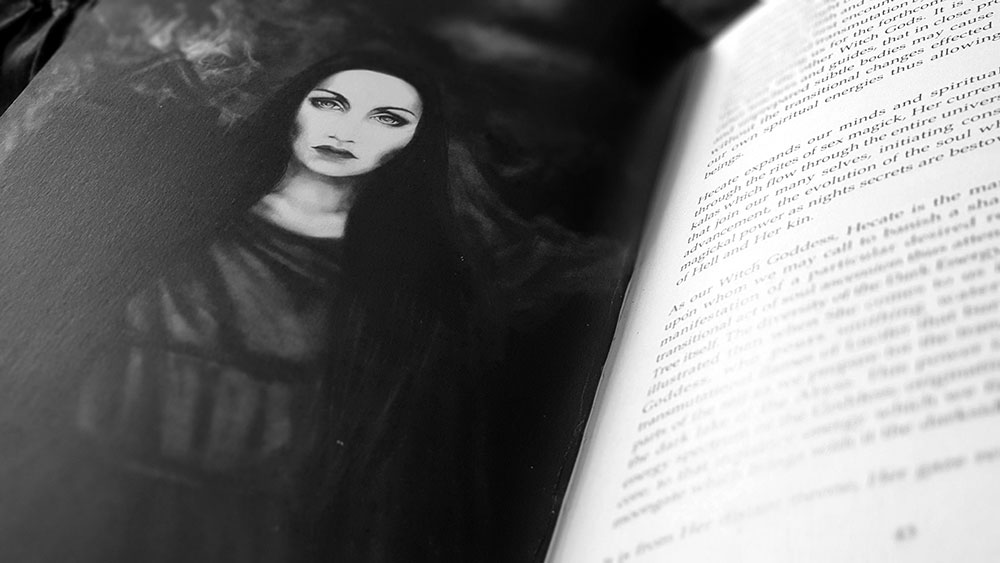 Queen of Hell spread with full page image of Hecate