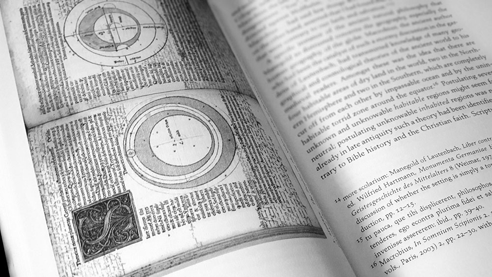 The Natural and the Supernatural in the Middle spread with page from The Treatise of the Spheres by John of Sacrobosco