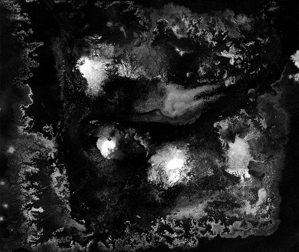 Ash, charcoal, and salt painting by Faith Coloccia